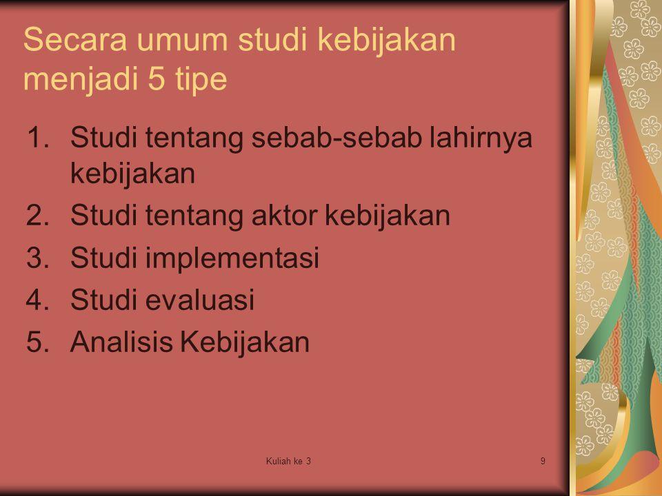 Kuliah ke 39 Secara umum studi kebijakan menjadi 5 tipe 1.Studi tentang sebab-sebab lahirnya kebijakan 2.Studi tentang aktor kebijakan 3.Studi impleme