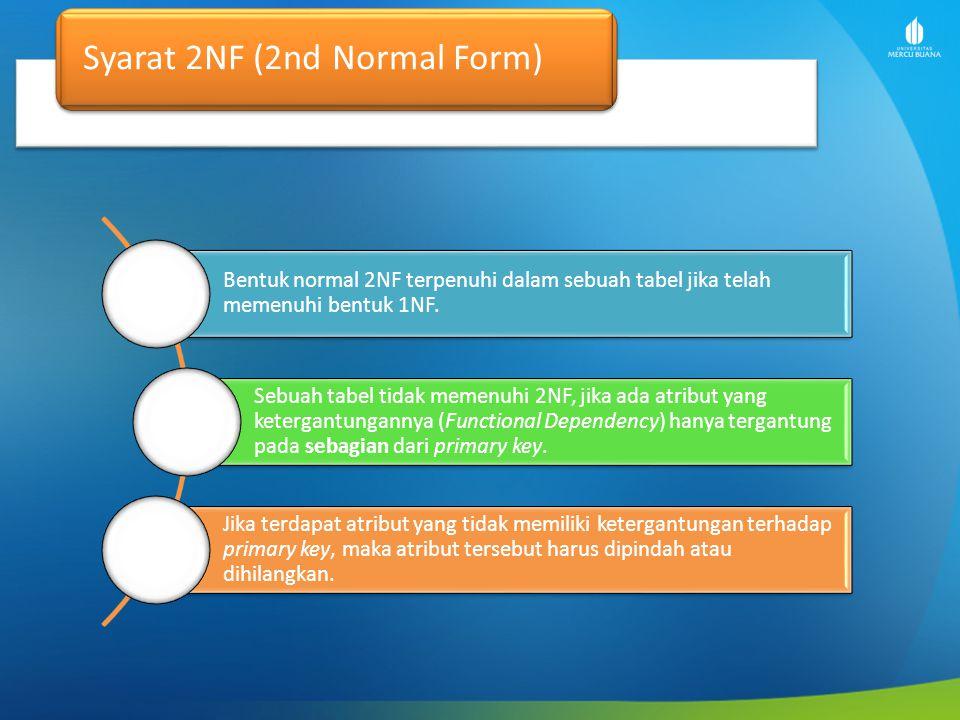 Contoh Kasus 2nd NF Tabel berikut memenuhi 1NF tapi tidak termasuk 2NF: NIMNamaKd_MatkulDosen PA 415010101Rini90001Dr.