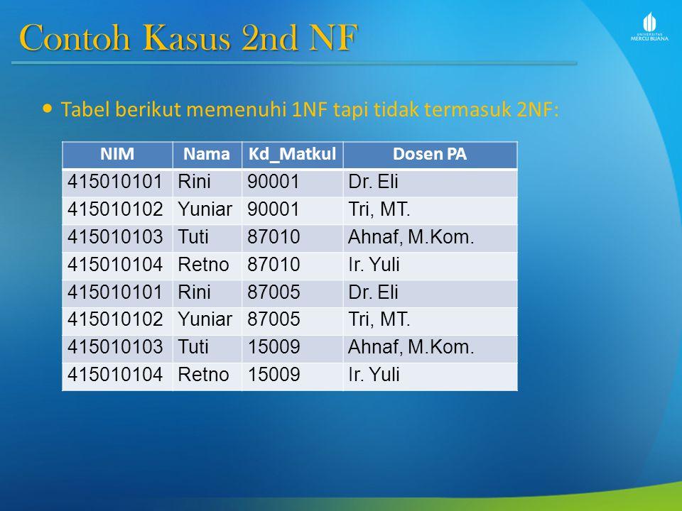 Contoh Kasus 2nd NF Berikut analisanya untuk mengubah ke bentuk 2NF: 1.Pada 1NF, terlihat bahwa kolom NIM merupakan PrimaryKey (PK).