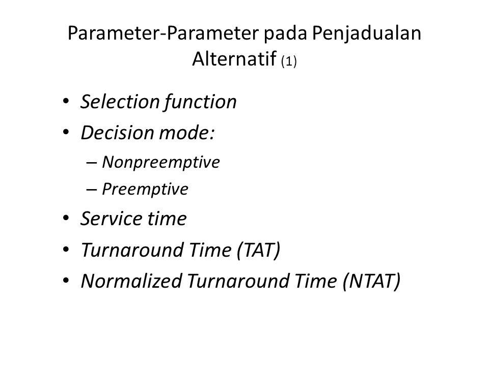 Parameter-Parameter pada Penjadualan Alternatif (1) Selection function Decision mode: – Nonpreemptive – Preemptive Service time Turnaround Time (TAT) Normalized Turnaround Time (NTAT)