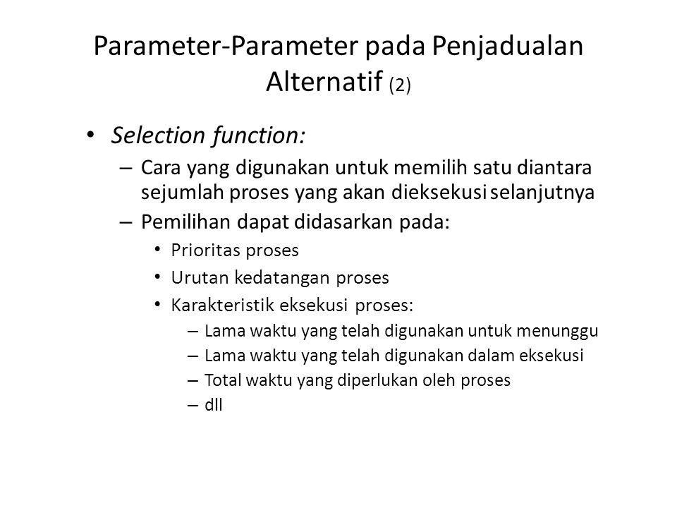 Parameter-Parameter pada Penjadualan Alternatif (2) Selection function: – Cara yang digunakan untuk memilih satu diantara sejumlah proses yang akan di