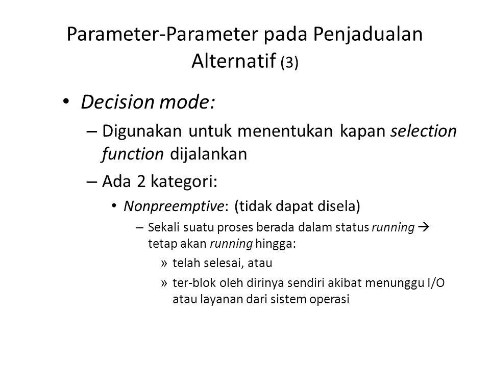 Parameter-Parameter pada Penjadualan Alternatif (3) Decision mode: – Digunakan untuk menentukan kapan selection function dijalankan – Ada 2 kategori: