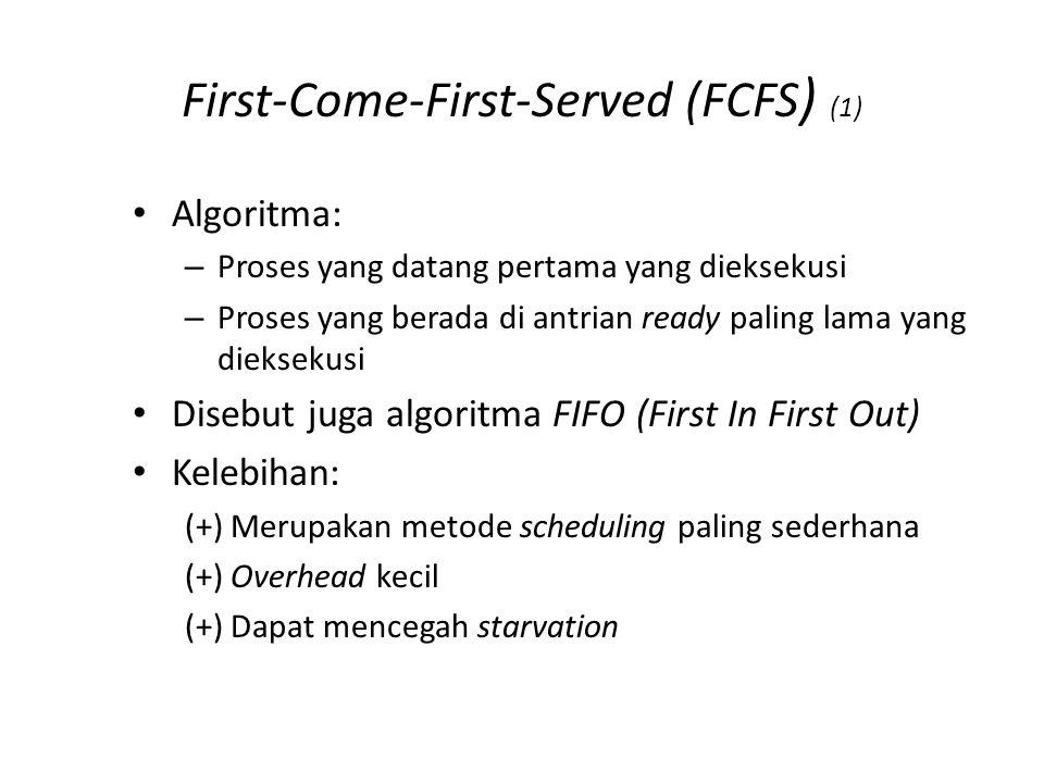 First-Come-First-Served (FCFS ) (1) Algoritma: – Proses yang datang pertama yang dieksekusi – Proses yang berada di antrian ready paling lama yang dieksekusi Disebut juga algoritma FIFO (First In First Out) Kelebihan: (+) Merupakan metode scheduling paling sederhana (+) Overhead kecil (+) Dapat mencegah starvation