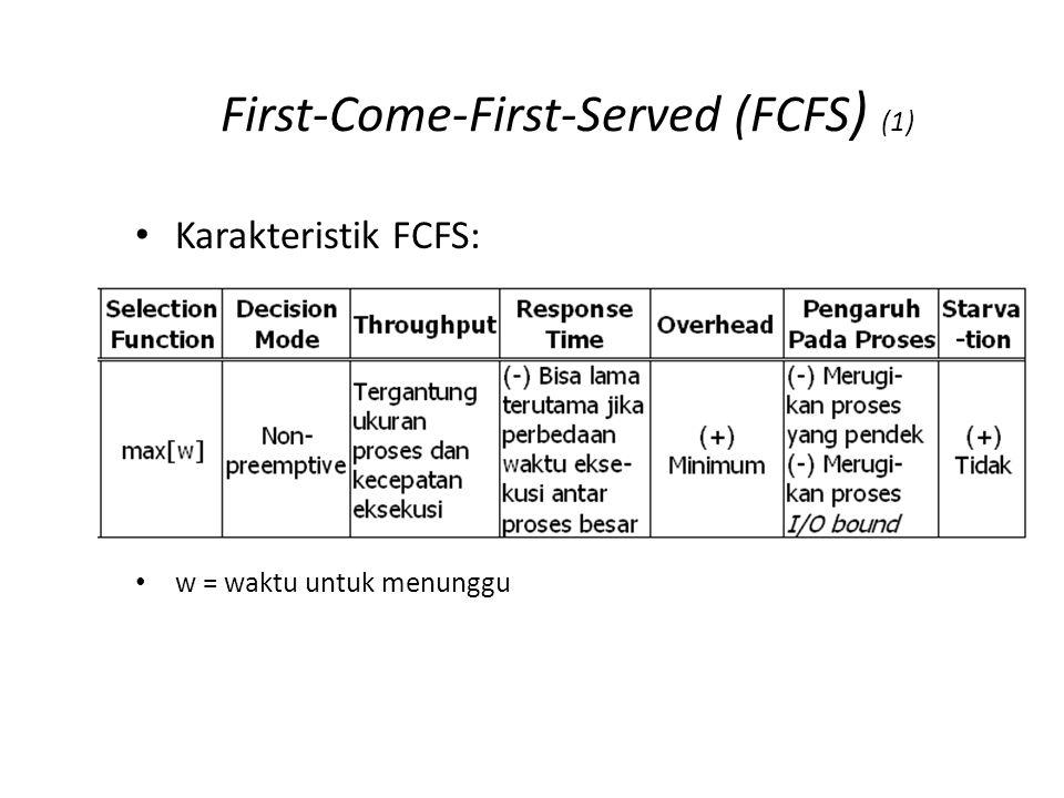 First-Come-First-Served (FCFS ) (1) Karakteristik FCFS: w = waktu untuk menunggu