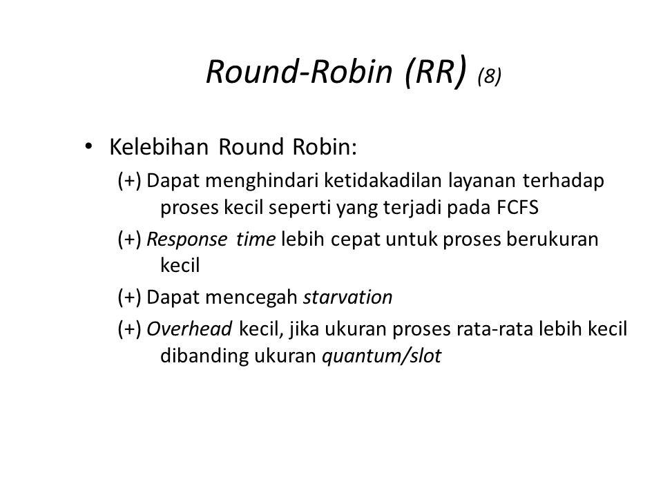 Round-Robin (RR ) (8) Kelebihan Round Robin: (+) Dapat menghindari ketidakadilan layanan terhadap proses kecil seperti yang terjadi pada FCFS (+) Resp
