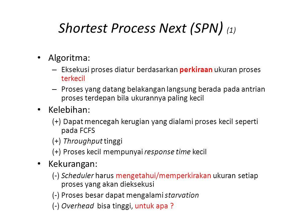 Shortest Process Next (SPN ) (1) Algoritma: – Eksekusi proses diatur berdasarkan perkiraan ukuran proses terkecil – Proses yang datang belakangan lang