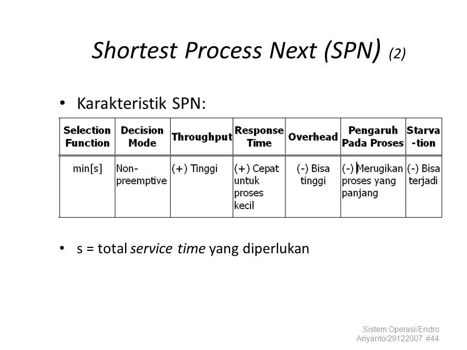Sistem Operasi/Endro Ariyanto/29122007 #44 Shortest Process Next (SPN ) (2) Karakteristik SPN: s = total service time yang diperlukan