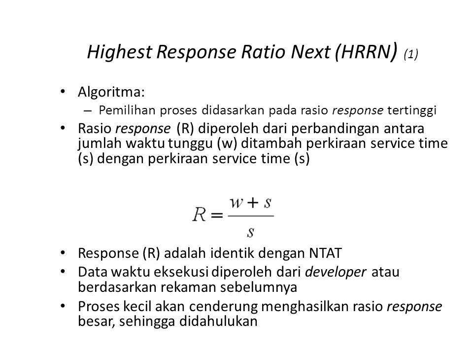 Highest Response Ratio Next (HRRN ) (1) Algoritma: – Pemilihan proses didasarkan pada rasio response tertinggi Rasio response (R) diperoleh dari perba
