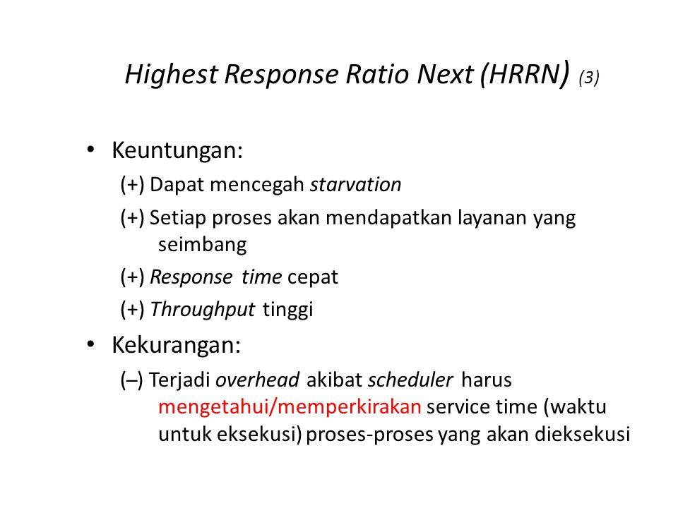 Highest Response Ratio Next (HRRN ) (3) Keuntungan: (+) Dapat mencegah starvation (+) Setiap proses akan mendapatkan layanan yang seimbang (+) Response time cepat (+) Throughput tinggi Kekurangan: ( ̶ ) Terjadi overhead akibat scheduler harus mengetahui/memperkirakan service time (waktu untuk eksekusi) proses-proses yang akan dieksekusi