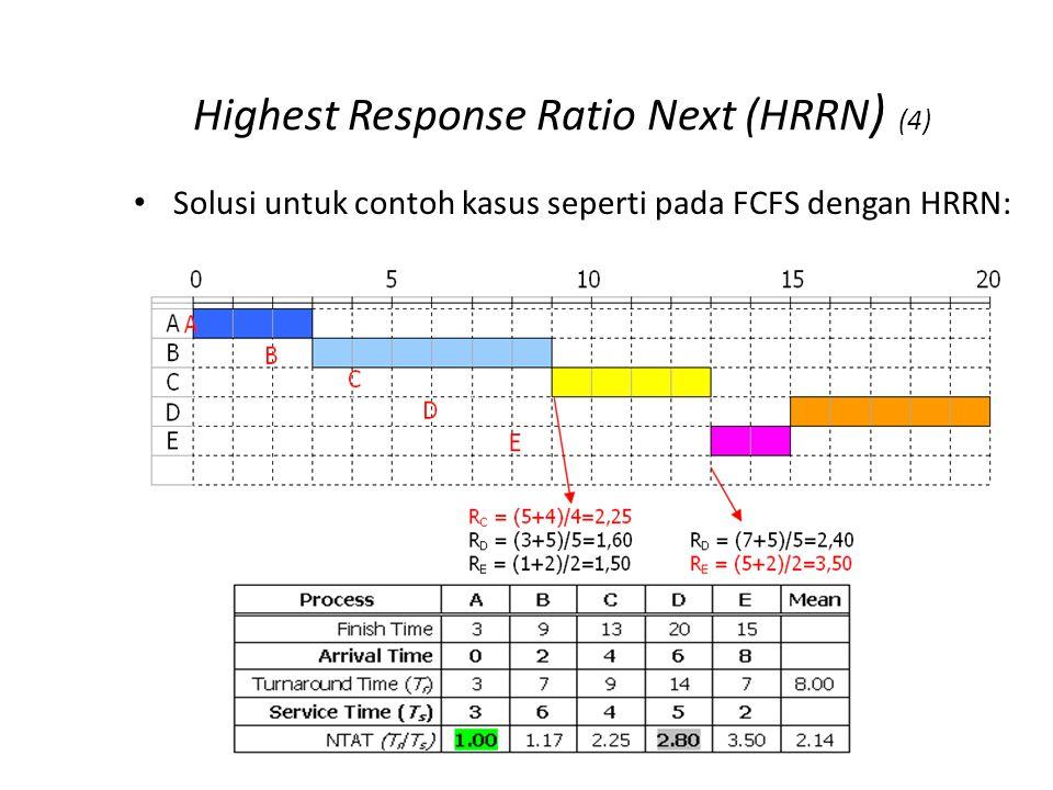 Highest Response Ratio Next (HRRN ) (4) Solusi untuk contoh kasus seperti pada FCFS dengan HRRN: