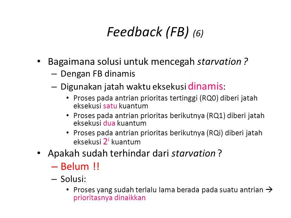 Feedback (FB) (6) Bagaimana solusi untuk mencegah starvation ? –D–Dengan FB dinamis –D–Digunakan jatah waktu eksekusi dinamis : Proses pada antrian pr
