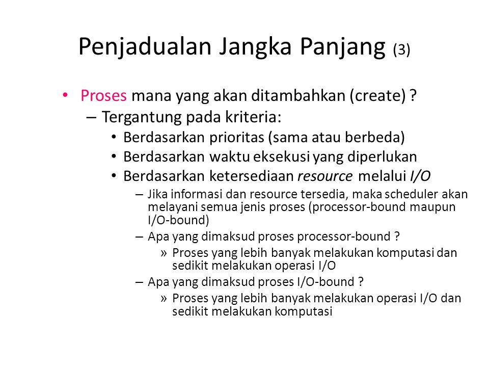 Penjadualan Jangka Panjang (3) Proses mana yang akan ditambahkan (create) ? – Tergantung pada kriteria: Berdasarkan prioritas (sama atau berbeda) Berd