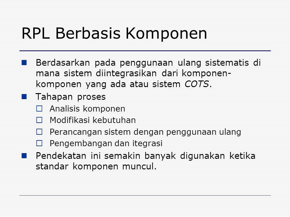 RPL Berbasis Komponen Berdasarkan pada penggunaan ulang sistematis di mana sistem diintegrasikan dari komponen- komponen yang ada atau sistem COTS. Ta