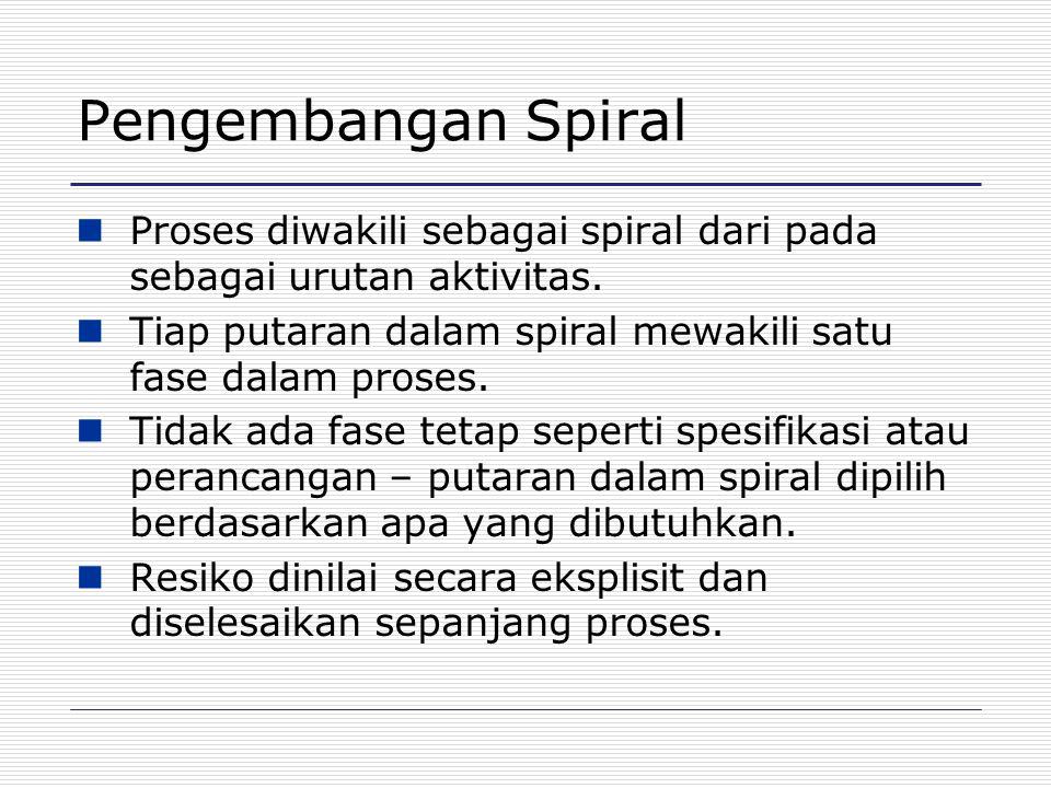 Pengembangan Spiral Proses diwakili sebagai spiral dari pada sebagai urutan aktivitas. Tiap putaran dalam spiral mewakili satu fase dalam proses. Tida