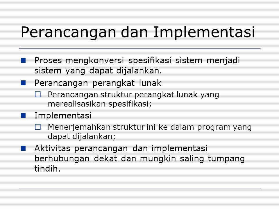 Perancangan dan Implementasi Proses mengkonversi spesifikasi sistem menjadi sistem yang dapat dijalankan. Perancangan perangkat lunak  Perancangan st