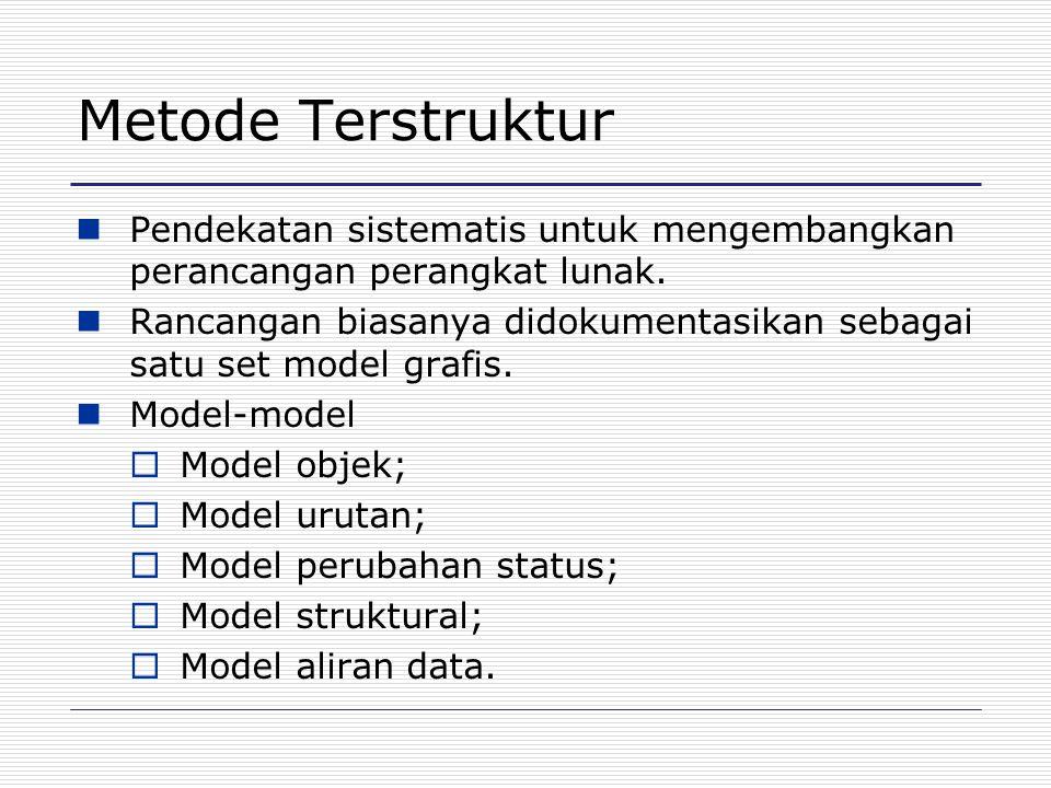 Metode Terstruktur Pendekatan sistematis untuk mengembangkan perancangan perangkat lunak. Rancangan biasanya didokumentasikan sebagai satu set model g