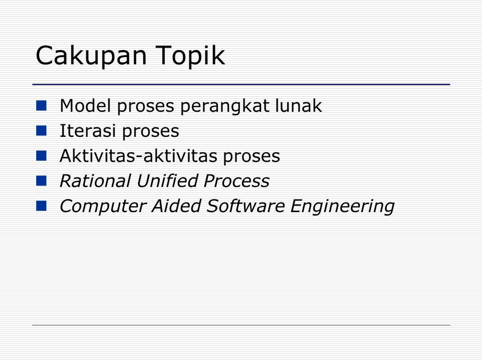Proses Perangkat Lunak Serangkaian proses terstruktur yang dibutuhkan untuk mengembangkan sistem  Spesifikasi  Perancangan  Validasi  Evolusi Model proses perangkat lunak adalah gambaran abstrak dari suatu proses.