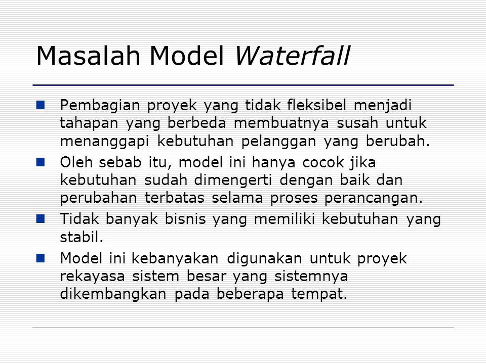 Masalah Model Waterfall Pembagian proyek yang tidak fleksibel menjadi tahapan yang berbeda membuatnya susah untuk menanggapi kebutuhan pelanggan yang