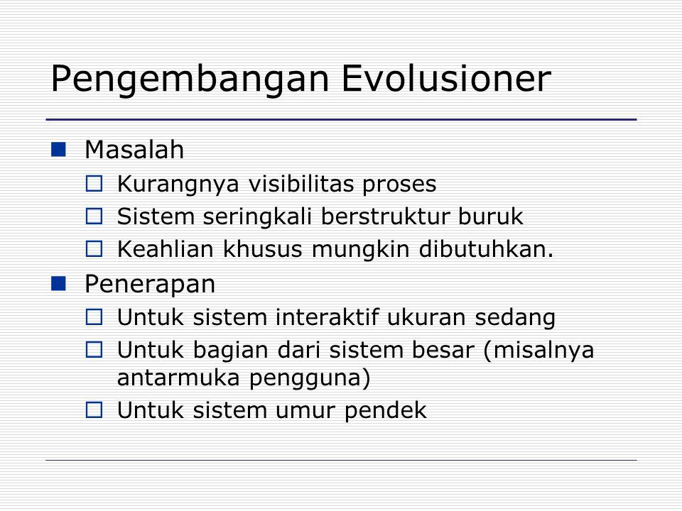 Pengembangan Evolusioner Masalah  Kurangnya visibilitas proses  Sistem seringkali berstruktur buruk  Keahlian khusus mungkin dibutuhkan. Penerapan