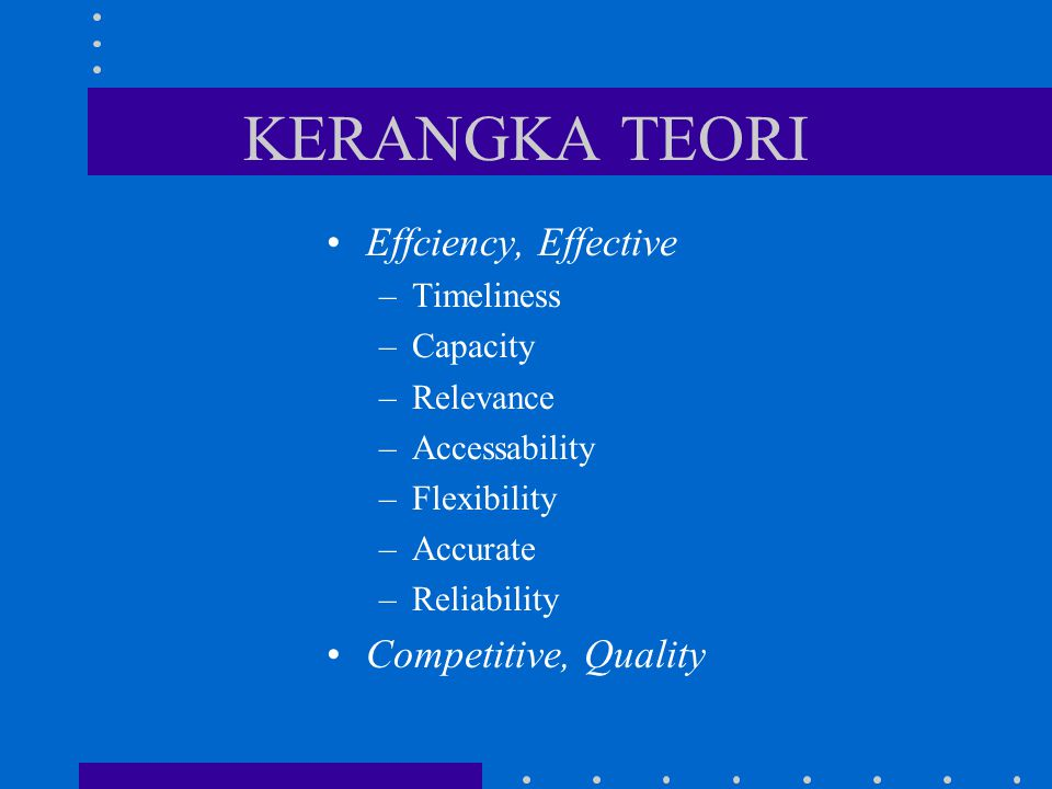 KERANGKA TEORI Effciency, Effective –Timeliness –Capacity –Relevance –Accessability –Flexibility –Accurate –Reliability Competitive, Quality