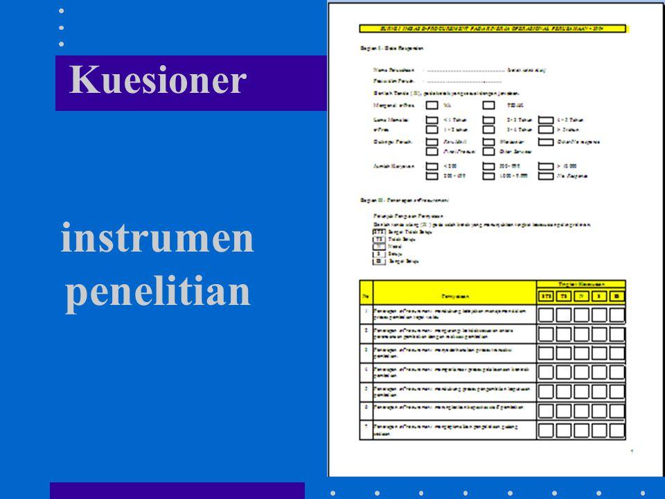 Kuesioner instrumen penelitian