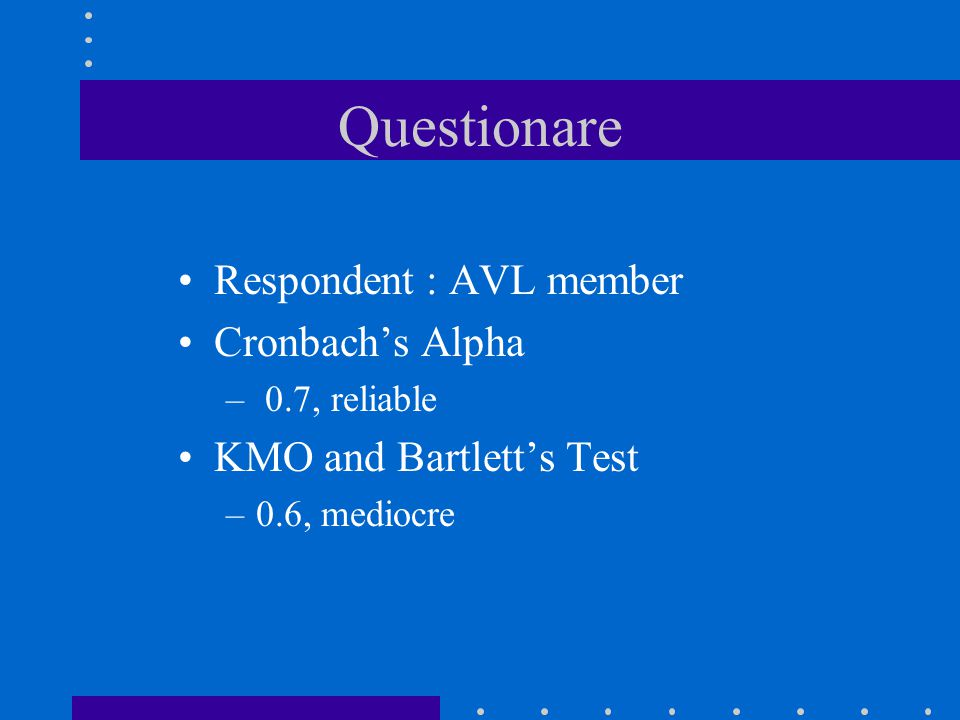 Questionare Respondent : AVL member Cronbach's Alpha – 0.7, reliable KMO and Bartlett's Test –0.6, mediocre