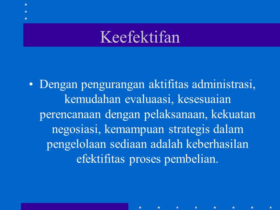 Keefektifan Dengan pengurangan aktifitas administrasi, kemudahan evaluaasi, kesesuaian perencanaan dengan pelaksanaan, kekuatan negosiasi, kemampuan strategis dalam pengelolaan sediaan adalah keberhasilan efektifitas proses pembelian.