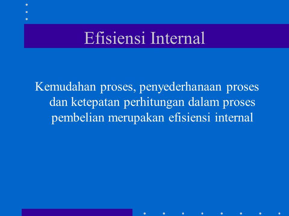 Efisiensi Internal Kemudahan proses, penyederhanaan proses dan ketepatan perhitungan dalam proses pembelian merupakan efisiensi internal