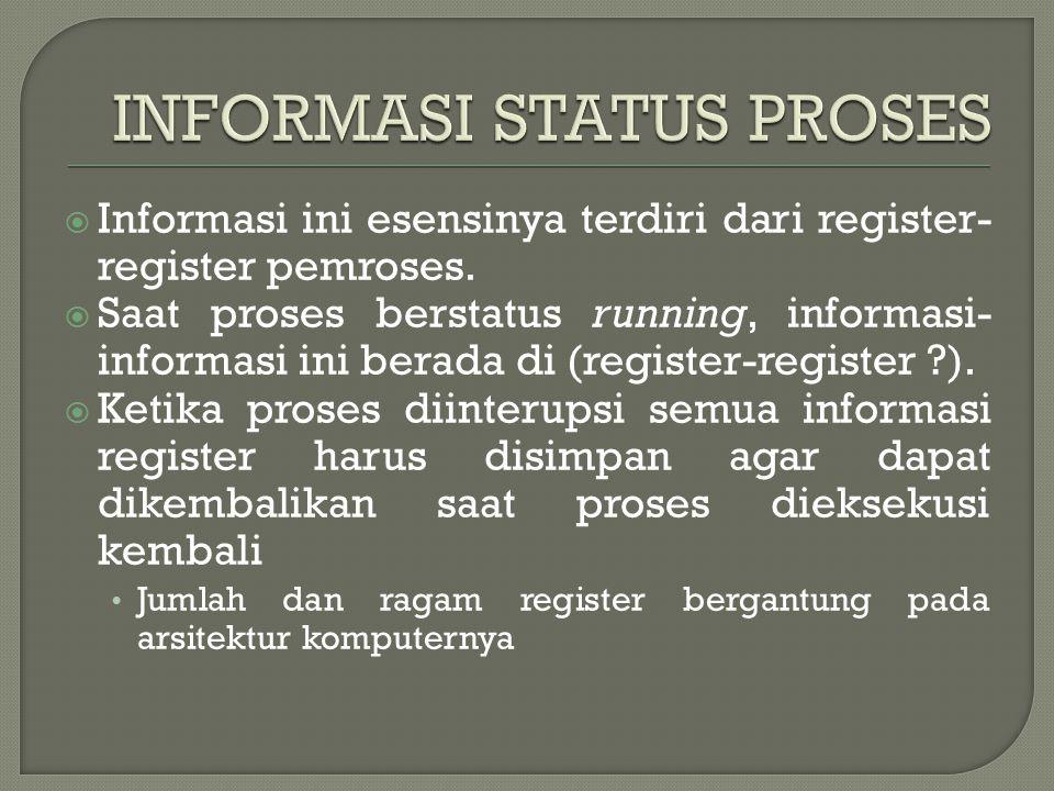  Berkaitan dengan identitas proses yang unik  Dengan identifier ini proses dikaitkan ke tabel-tabel lain  Identifiernya adalah numerik yang meliputi Identifier proses Identifier proses yang menciptakan Identifier pemakai
