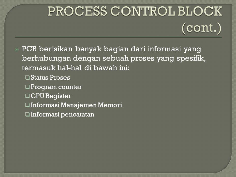 Gambar Process Control Block Setiap proses digambarkan dalam sistem operasi oleh sebuah process control block (PCB) – juga disebut sebuah control block.