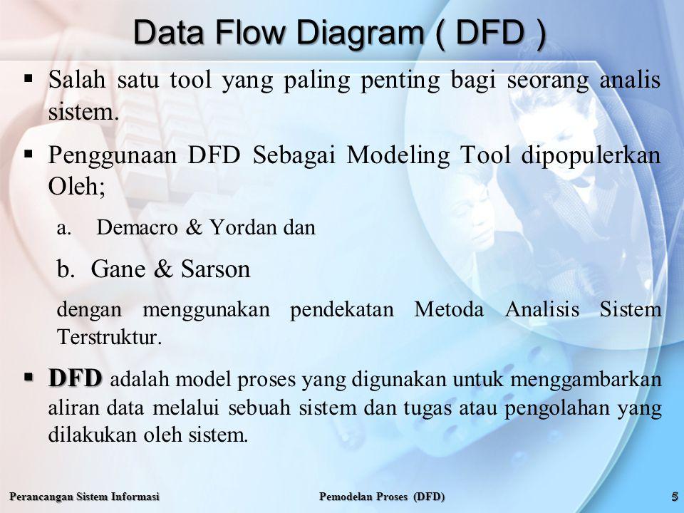 Perancangan Sistem Informasi Mengambarkan DFD Pemodelan Proses (DFD)  Konsep DFD Bertingkat;  ROSS mengemukan pikiran manusia dapat menerima segala bentuk kerumitan, asalkan disajikan dalam susunan yang terdiri dari bagian-bagian kecil yang mudah dimengerti.