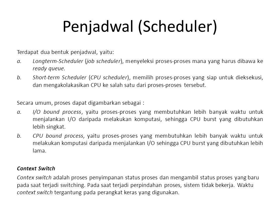 Penjadwal (Scheduler) Terdapat dua bentuk penjadwal, yaitu: a.Longterm-Scheduler (job scheduler), menyeleksi proses-proses mana yang harus dibawa ke ready queue.
