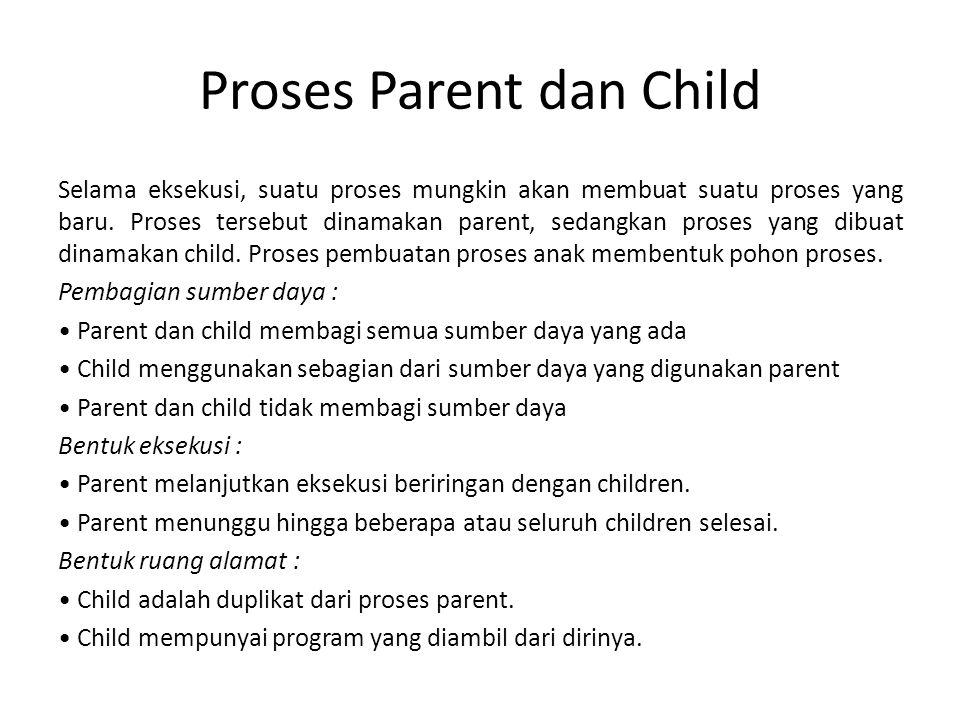 Proses Parent dan Child Selama eksekusi, suatu proses mungkin akan membuat suatu proses yang baru.