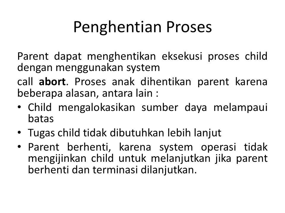 Penghentian Proses Parent dapat menghentikan eksekusi proses child dengan menggunakan system call abort.