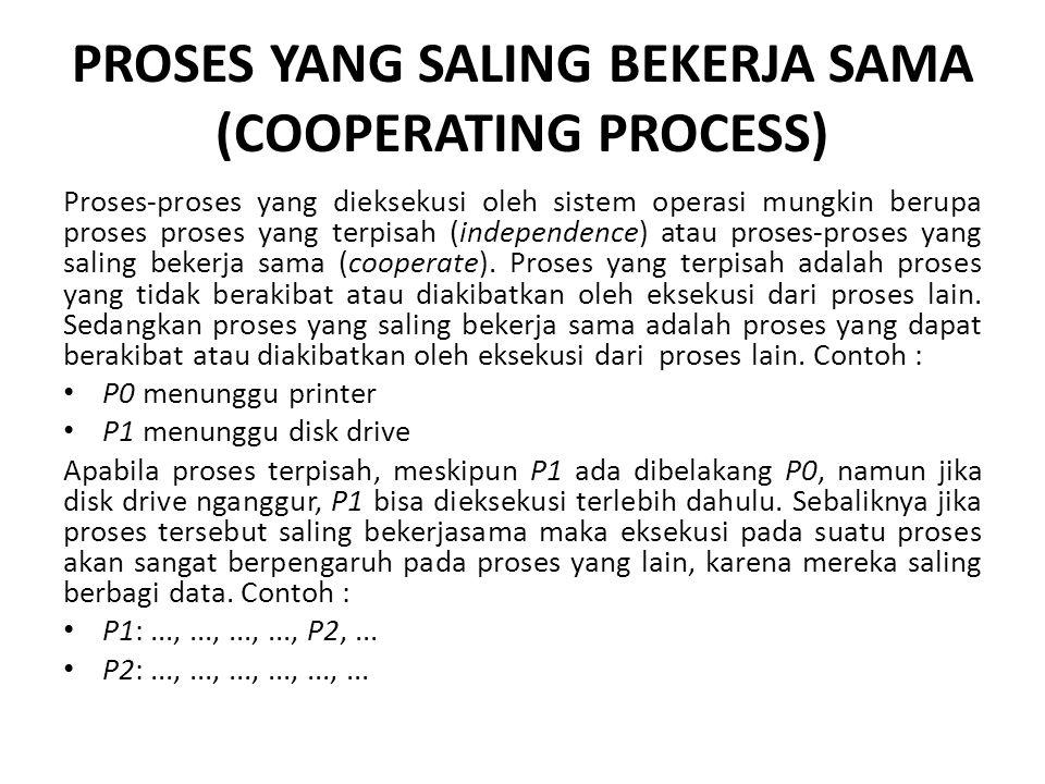 PROSES YANG SALING BEKERJA SAMA (COOPERATING PROCESS) Proses-proses yang dieksekusi oleh sistem operasi mungkin berupa proses proses yang terpisah (independence) atau proses-proses yang saling bekerja sama (cooperate).