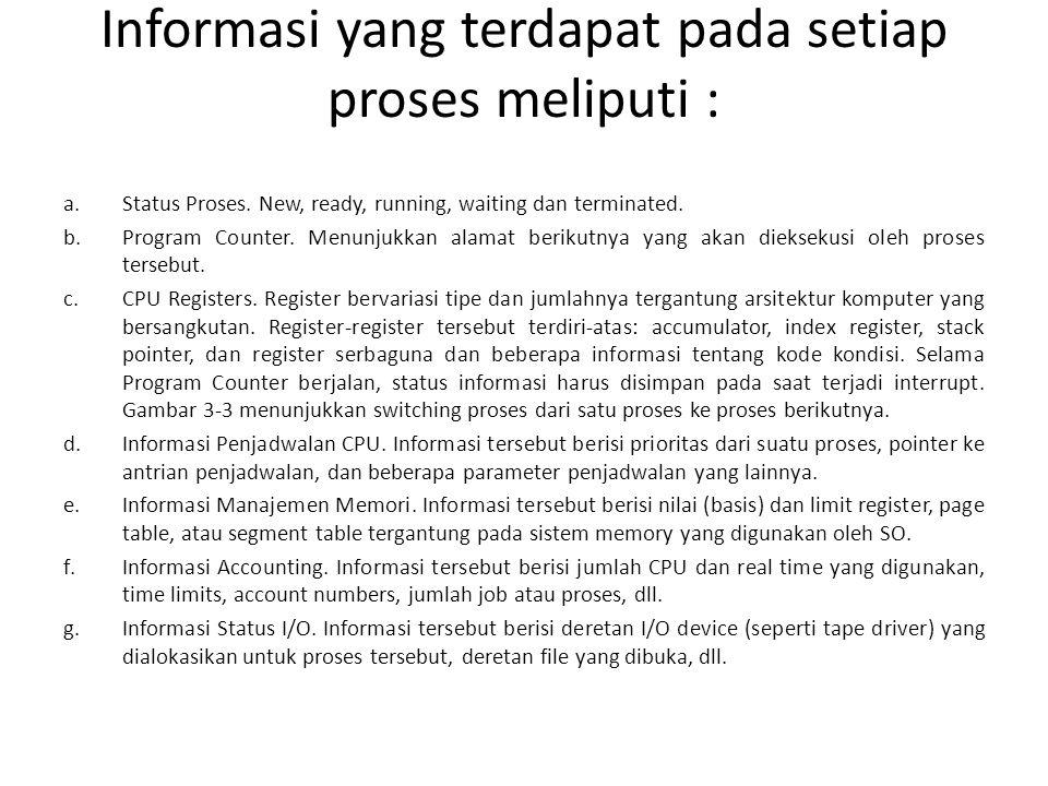 Informasi yang terdapat pada setiap proses meliputi : a.Status Proses.