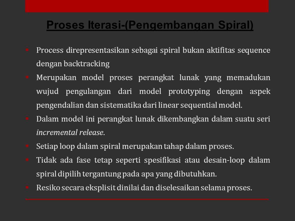 Process direpresentasikan sebagai spiral bukan aktifitas sequence dengan backtracking  Merupakan model proses perangkat lunak yang memadukan wujud