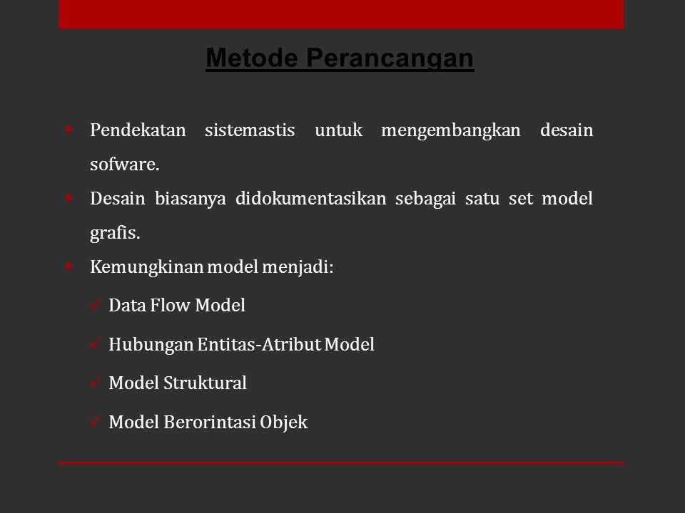  Pendekatan sistemastis untuk mengembangkan desain sofware.  Desain biasanya didokumentasikan sebagai satu set model grafis.  Kemungkinan model men
