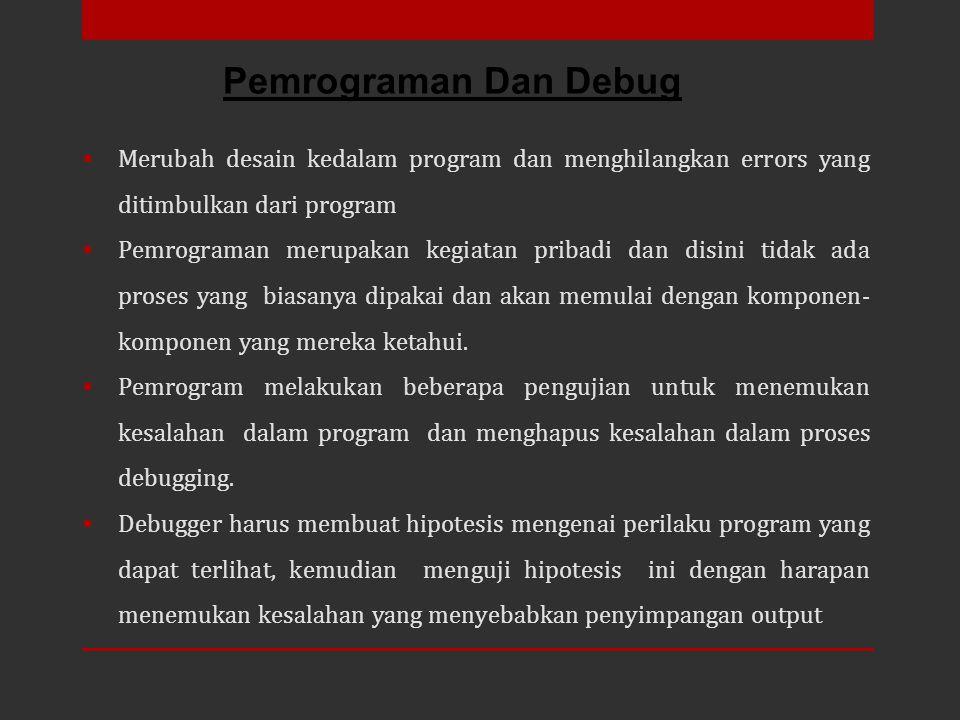  Merubah desain kedalam program dan menghilangkan errors yang ditimbulkan dari program  Pemrograman merupakan kegiatan pribadi dan disini tidak ada