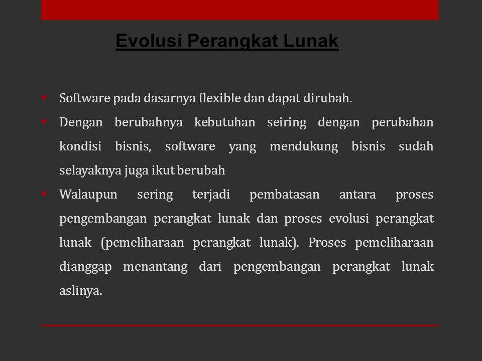 Software pada dasarnya flexible dan dapat dirubah.  Dengan berubahnya kebutuhan seiring dengan perubahan kondisi bisnis, software yang mendukung bi