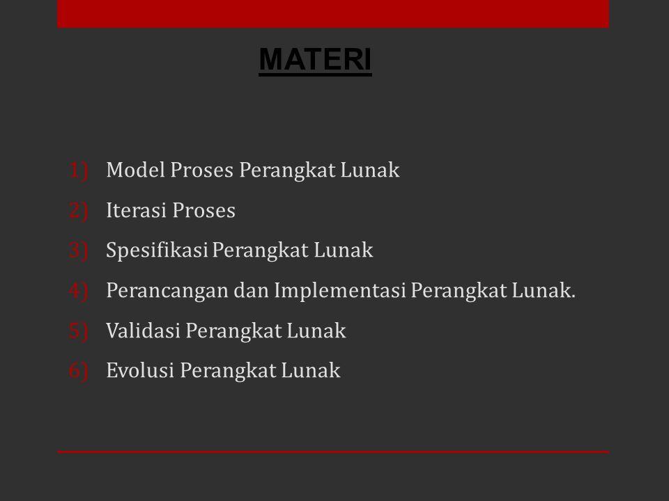 1)Model Proses Perangkat Lunak 2)Iterasi Proses 3)Spesifikasi Perangkat Lunak 4)Perancangan dan Implementasi Perangkat Lunak. 5)Validasi Perangkat Lun