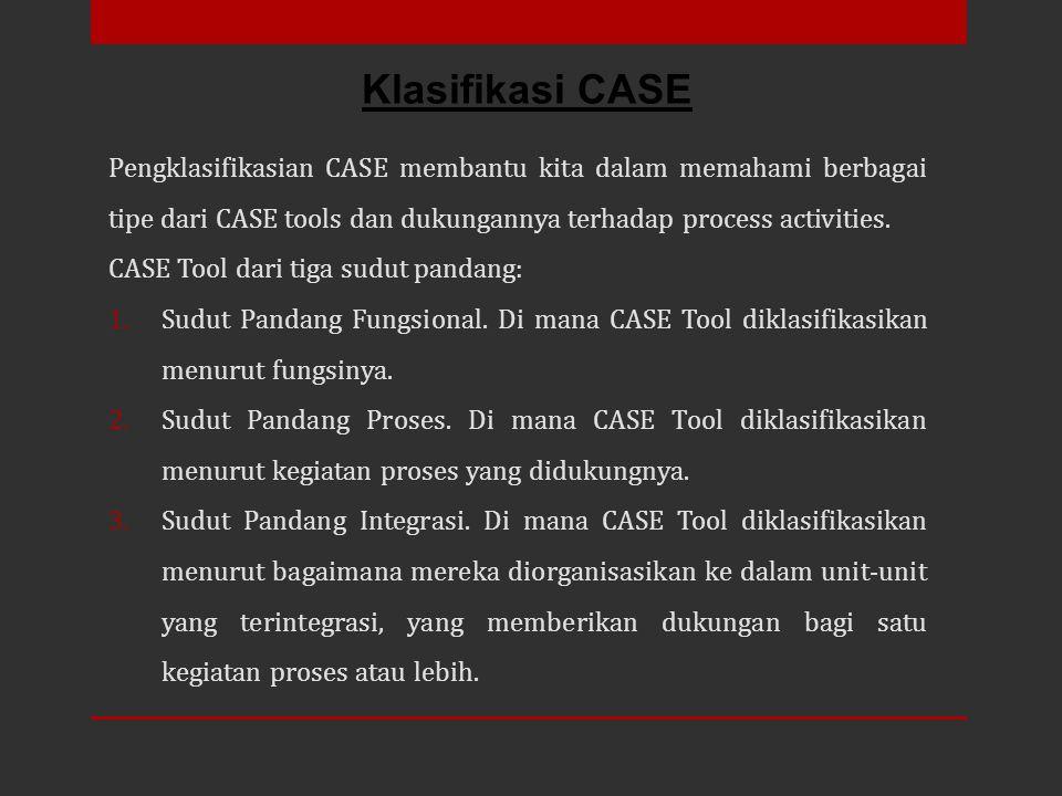 Pengklasifikasian CASE membantu kita dalam memahami berbagai tipe dari CASE tools dan dukungannya terhadap process activities. CASE Tool dari tiga sud