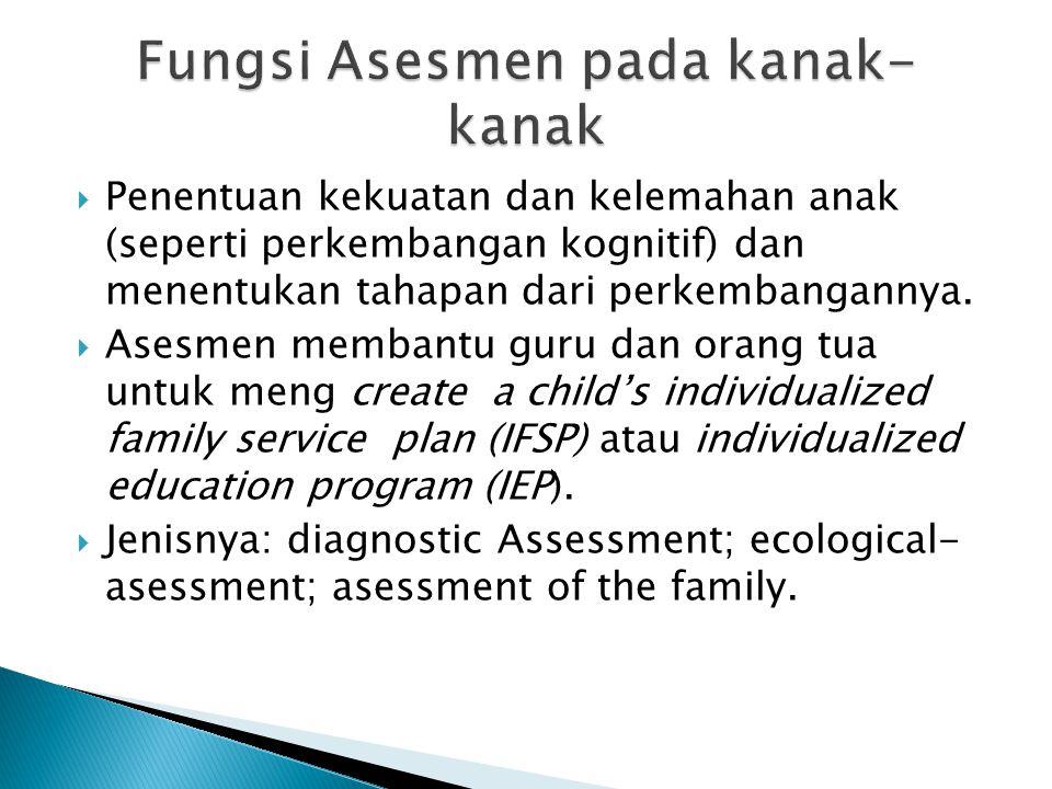  Penentuan kekuatan dan kelemahan anak (seperti perkembangan kognitif) dan menentukan tahapan dari perkembangannya.