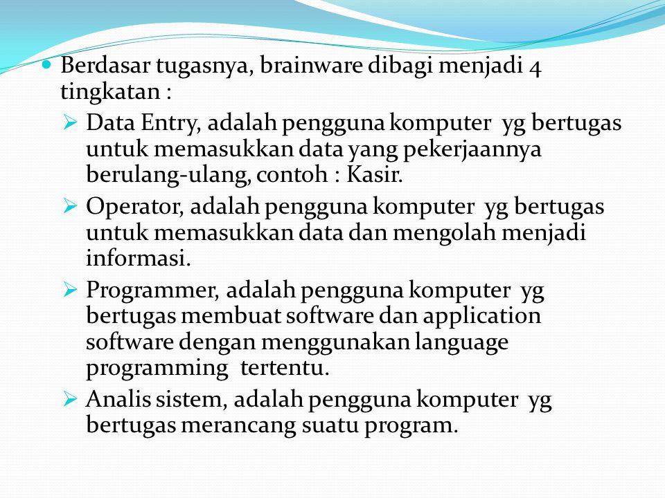 Berdasar tugasnya, brainware dibagi menjadi 4 tingkatan :  Data Entry, adalah pengguna komputer yg bertugas untuk memasukkan data yang pekerjaannya b