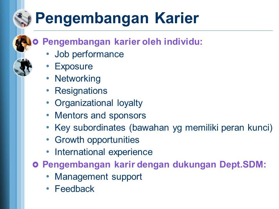 Pengembangan Karier  Pengembangan karier oleh individu: Job performance Exposure Networking Resignations Organizational loyalty Mentors and sponsors