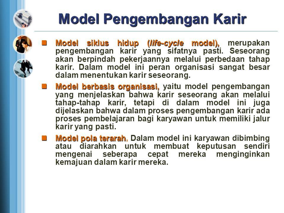 Model Pengembangan Karir Model siklus hidup (life-cycle model), merupakan pengembangan karir yang sifatnya pasti. Seseorang akan berpindah pekerjaanny