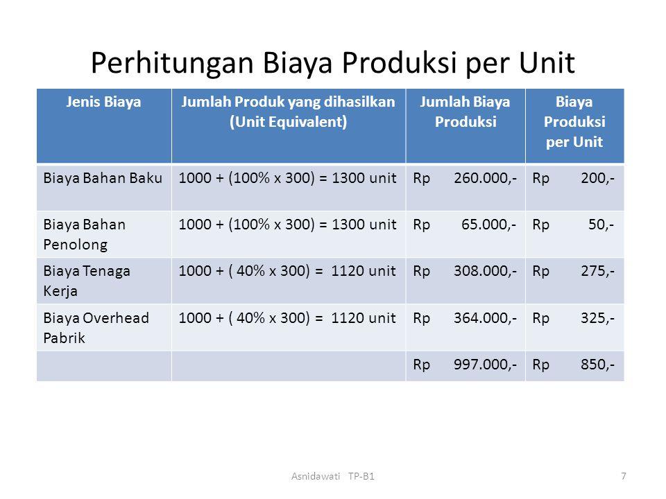  PT SARI memproduksi satu macam produk melalui satu departemen produksi. Data yang diperoleh Januari 2007 sbb: -Dari Bag. Produksi: *Produk selesai d