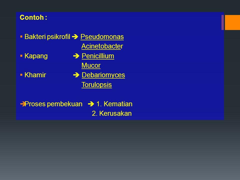 Contoh :  Bakteri psikrofil  Pseudomonas Acinetobacter  Kapang  Penicillium Mucor  Khamir  Debariomyces Torulopsis  Proses pembekuan  1. Kemat