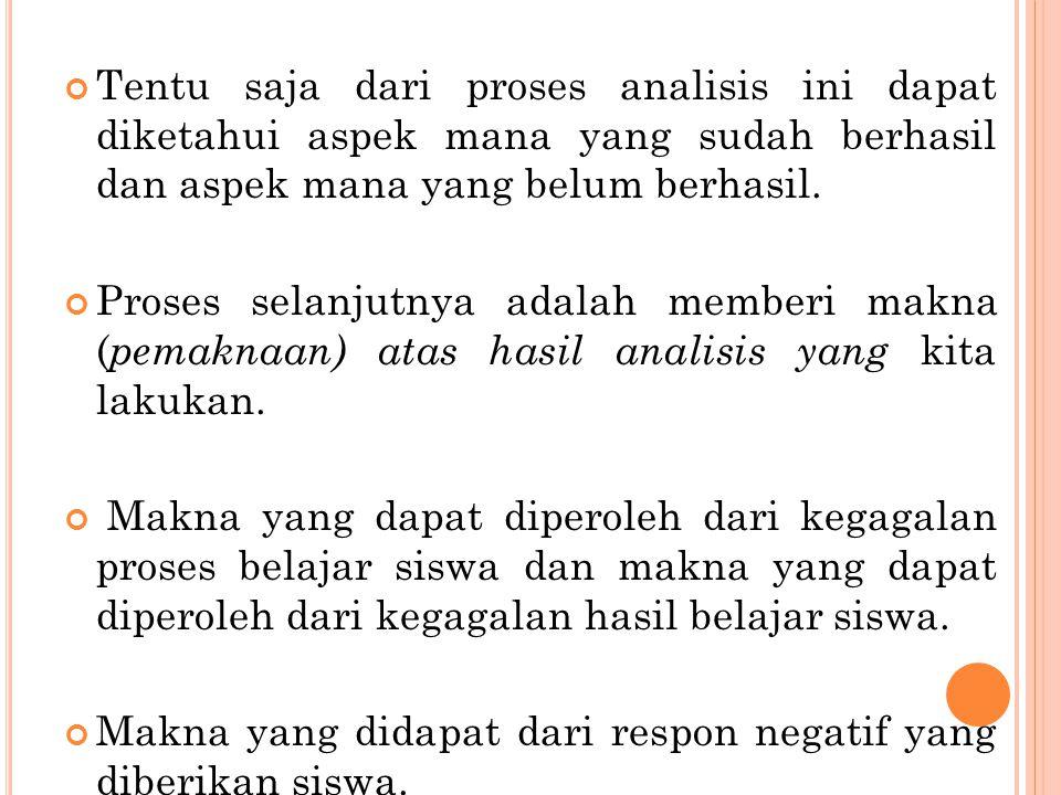 Tentu saja dari proses analisis ini dapat diketahui aspek mana yang sudah berhasil dan aspek mana yang belum berhasil. Proses selanjutnya adalah membe