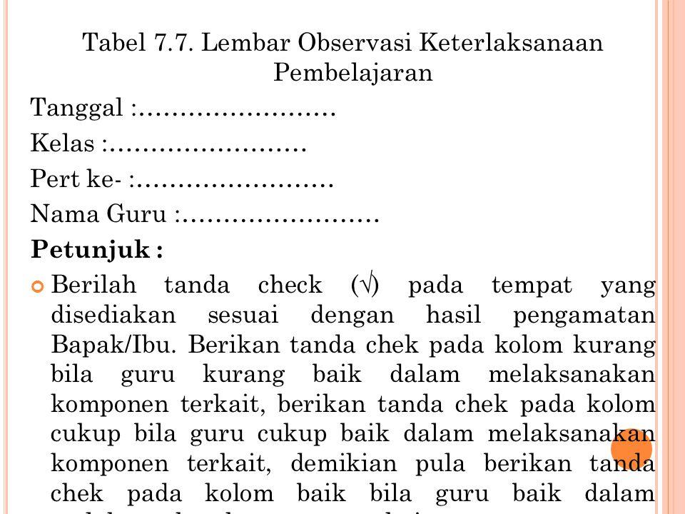 Tabel 7.7. Lembar Observasi Keterlaksanaan Pembelajaran Tanggal :…………………… Kelas :…………………… Pert ke- :…………………… Nama Guru :…………………… Petunjuk : Berilah ta